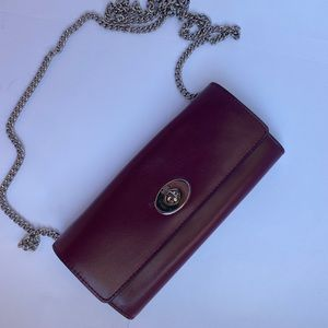 Brand new coach wallet on chain burgundy color